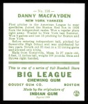 1933 Goudey Reprints #156  Danny MacFayden  Back Thumbnail