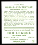 1933 Goudey Reprint #22  Pie Traynor  Back Thumbnail
