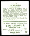 1933 Goudey Reprint #162  Leo Mangum  Back Thumbnail