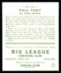 1933 Goudey Reprint #86  Phil Todt  Back Thumbnail