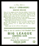 1933 Goudey Reprint #212  Billy Urbanski  Back Thumbnail
