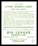 1933 Goudey Reprint #208  Bernie James  Back Thumbnail