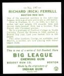 1933 Goudey Reprint #197  Rick Ferrell  Back Thumbnail