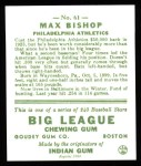 1933 Goudey Reprint #61  Max Bishop  Back Thumbnail