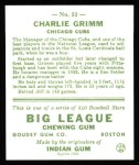 1933 Goudey Reprint #51  Charlie Grimm  Back Thumbnail