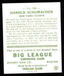 1933 Goudey Reprints #240  Hal Schumacher  Back Thumbnail