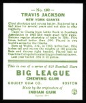1933 Goudey Reprint #102  Travis Jackson  Back Thumbnail