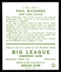 1933 Goudey Reprint #142  Paul Richards  Back Thumbnail