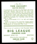 1933 Goudey Reprint #91  Tom Zachary  Back Thumbnail