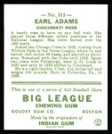 1933 Goudey Reprint #213  Earl Adams  Back Thumbnail