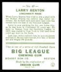 1933 Goudey Reprints #45  Larry Benton  Back Thumbnail