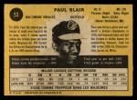 1971 O-Pee-Chee #53  Paul Blair  Back Thumbnail
