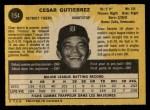 1971 O-Pee-Chee #154  Cesar Gutierrez  Back Thumbnail