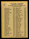 1971 O-Pee-Chee #61   -  Alex Johnson / Tony Oliva / Carl Yastrzemski AL Batting Leaders   Back Thumbnail
