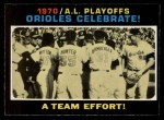1971 O-Pee-Chee #198   1970 AL Playoffs - Summary - Orioles Celebrate Front Thumbnail
