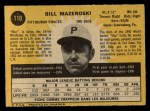 1971 O-Pee-Chee #110  Bill Mazeroski  Back Thumbnail