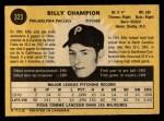 1971 O-Pee-Chee #323  Billy Champion  Back Thumbnail