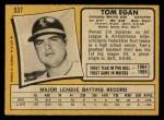 1971 O-Pee-Chee #537  Tom Egan  Back Thumbnail