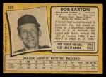 1971 O-Pee-Chee #589  Bob Barton  Back Thumbnail