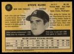 1971 O-Pee-Chee #51  Steve Kline  Back Thumbnail