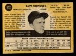 1971 O-Pee-Chee #372  Lew Krausse  Back Thumbnail