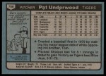 1980 Topps #709  Pat Underwood   Back Thumbnail