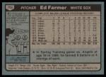 1980 Topps #702  Ed Farmer  Back Thumbnail