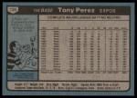 1980 Topps #125  Tony Perez  Back Thumbnail