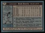 1980 Topps #351  Bob Davis  Back Thumbnail