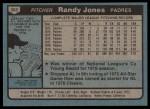 1980 Topps #305  Randy Jones  Back Thumbnail