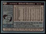 1980 Topps #707  Elliott Maddox  Back Thumbnail
