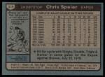 1980 Topps #319  Chris Speier  Back Thumbnail
