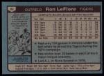 1980 Topps #80  Ron LeFlore  Back Thumbnail