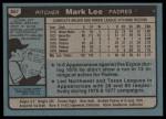 1980 Topps #557  Mark Lee  Back Thumbnail