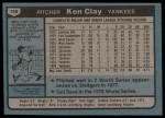 1980 Topps #159  Ken Clay  Back Thumbnail