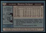 1980 Topps #429  Duane Kuiper  Back Thumbnail