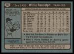 1980 Topps #460  Willie Randolph  Back Thumbnail