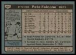 1980 Topps #401  Pete Falcone  Back Thumbnail