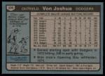 1980 Topps #209  Von Joshua  Back Thumbnail