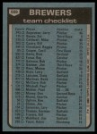 1980 Topps #659   -   George Bamberger Brewers Team and Checklist  Back Thumbnail