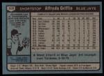 1980 Topps #558  Alfredo Griffin  Back Thumbnail