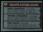 1980 Topps #686   -  Greg Johnston / Dennis Littlejohn / Phil Nastu  Giants Rookies Back Thumbnail