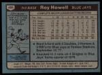 1980 Topps #488  Roy Howell  Back Thumbnail