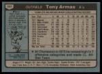 1980 Topps #391  Tony Armas    Back Thumbnail