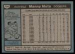 1980 Topps #104  Manny Mota  Back Thumbnail