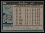 1980 Topps #250  Jim Kaat  Back Thumbnail
