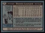 1980 Topps #565  Dennis Leonard  Back Thumbnail
