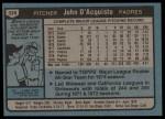 1980 Topps #339  John D'Acquisto  Back Thumbnail