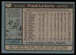 1980 Topps #411  Frank LaCorte  Back Thumbnail