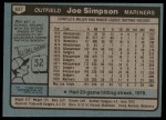 1980 Topps #637  Joe Simpson  Back Thumbnail